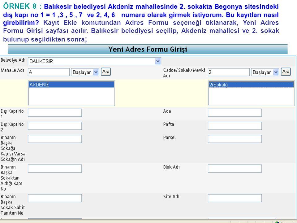 Balıkesir belediyesi Akdeniz mahallesinde 2. sokakta Begonya sitesindeki dış kapı no 1 = 1,3, 5, 7 ve 2, 4, 6 numara olarak girmek istiyorum. Bu kayıt