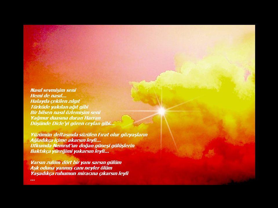 Uzak diyarların yedi veren gülü Asi türkülerimin adı Başkaldıran şiirlerimin dili Kırışmış alnımın derin çizgisi Seyrelmiş saçımın ak teli Artarak atan nabzım Kalbimin ömürlük pili Sen bensin Ben sen olmuşum leyli… Haberin var mı.