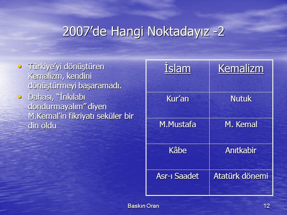 """Baskın Oran12 2007'de Hangi Noktadayız -2 • Türkiye'yi dönüştüren Kemalizm, kendini dönüştürmeyi başaramadı. • Dahası, """"İnkılabı dondurmayalım"""" diyen"""