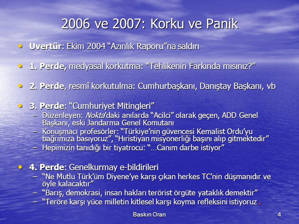 """Baskın Oran4 2006 ve 2007: Korku ve Panik • Uvertür: Ekim 2004 """"Azınlık Raporu""""na saldırı • 1. Perde, medyasal korkutma: """"Tehlikenin Farkında mısınız?"""