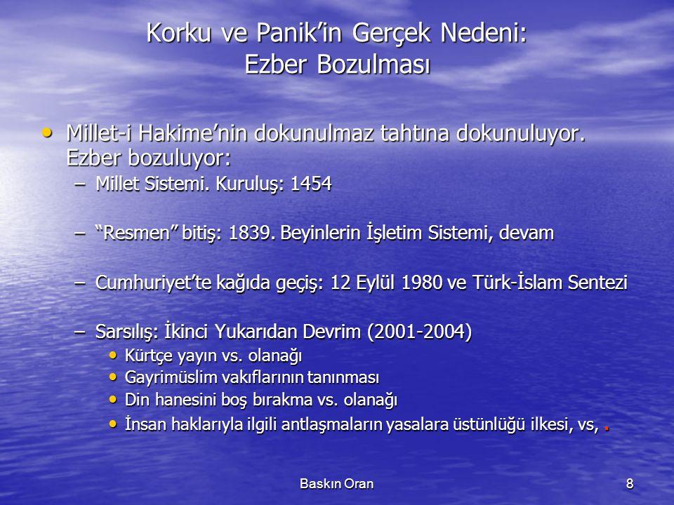 Baskın Oran9 Ezber Bozulması: İki Yukarıdan Devrim - Karşılaştırma TürkiyeliTürk (Müslüman-Türk; L â hasümüt) Müslüman Vatandaş(gönüllü)Vatandaş(zorunlu)Tebaa Ulus (çoğulcu) Ulus ( imtiyazsız, sınıfsız, kaynaşmış.. ) Ümmet Demokratik Devlet Ulus-devlet (monist) Yarı-Feodal İmparatorluk II.