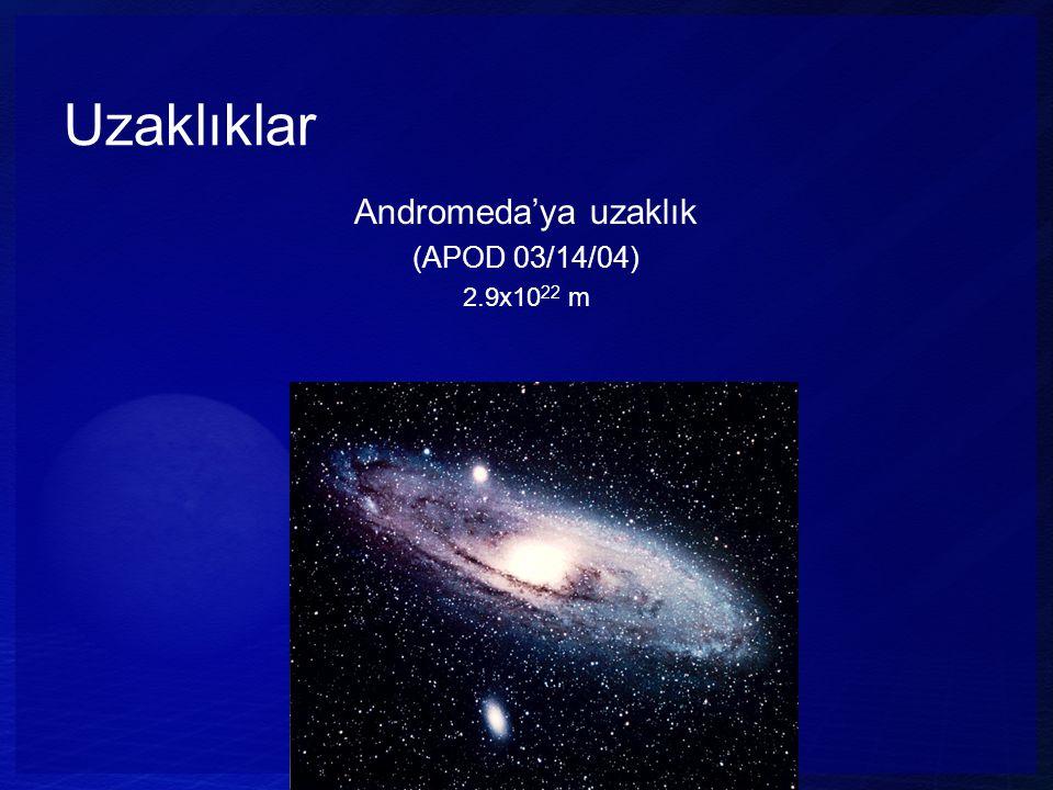 Uzaklıklar Andromeda'ya uzaklık (APOD 03/14/04) 2.9x10 22 m