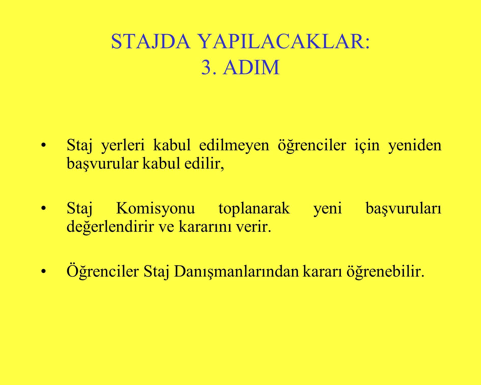 STAJDA YAPILACAKLAR: 3. ADIM •Staj yerleri kabul edilmeyen öğrenciler için yeniden başvurular kabul edilir, •Staj Komisyonu toplanarak yeni başvurular