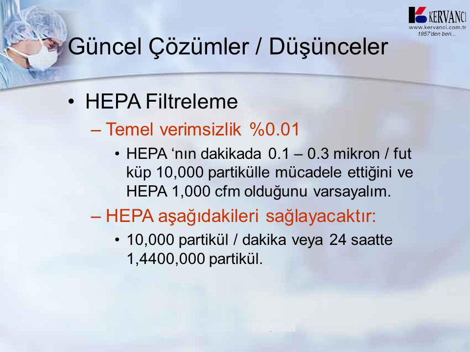 •HEPA Filtreleme –Temel verimsizlik %0.01 •HEPA 'nın dakikada 0.1 – 0.3 mikron / fut küp 10,000 partikülle mücadele ettiğini ve HEPA 1,000 cfm olduğun