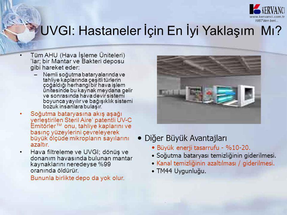 UVGI: Hastaneler İçin En İyi Yaklaşım Mı? •Tüm AHU (Hava İşleme Üniteleri) 'lar; bir Mantar ve Bakteri deposu gibi hareket eder: –Nemli soğutma batary