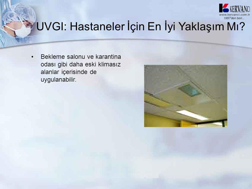 UVGI: Hastaneler İçin En İyi Yaklaşım Mı? •Bekleme salonu ve karantina odası gibi daha eski klimasız alanlar içerisinde de uygulanabilir.