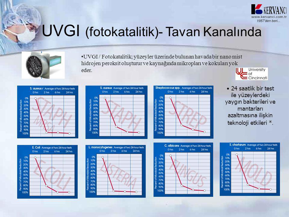 UVGI (fotokatalitik)- Tavan Kanalında • 24 saatlik bir test ile yüzeylerdeki yaygın bakterileri ve mantarları azaltmasına ilişkin teknoloji etkileri *