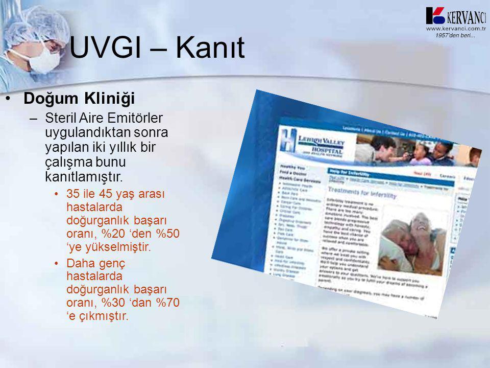 UVGI – Kanıt •Doğum Kliniği –Steril Aire Emitörler uygulandıktan sonra yapılan iki yıllık bir çalışma bunu kanıtlamıştır. •35 ile 45 yaş arası hastala