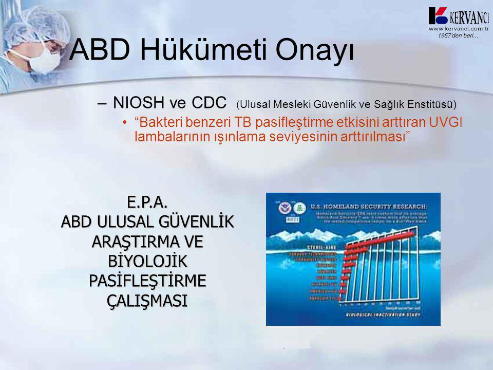 """ABD Hükümeti Onayı –NIOSH ve CDC (Ulusal Mesleki Güvenlik ve Sağlık Enstitüsü) •""""Bakteri benzeri TB pasifleştirme etkisini arttıran UVGI lambalarının"""