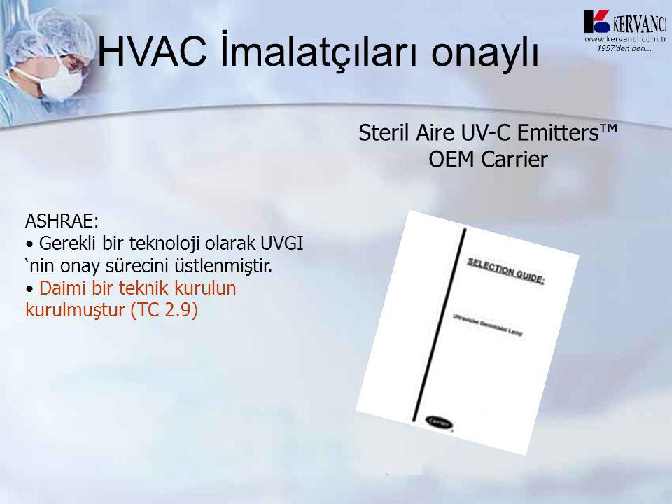HVAC İmalatçıları onaylı Steril Aire UV-C Emitters™ OEM Carrier ASHRAE: • Gerekli bir teknoloji olarak UVGI 'nin onay sürecini üstlenmiştir. • Daimi b