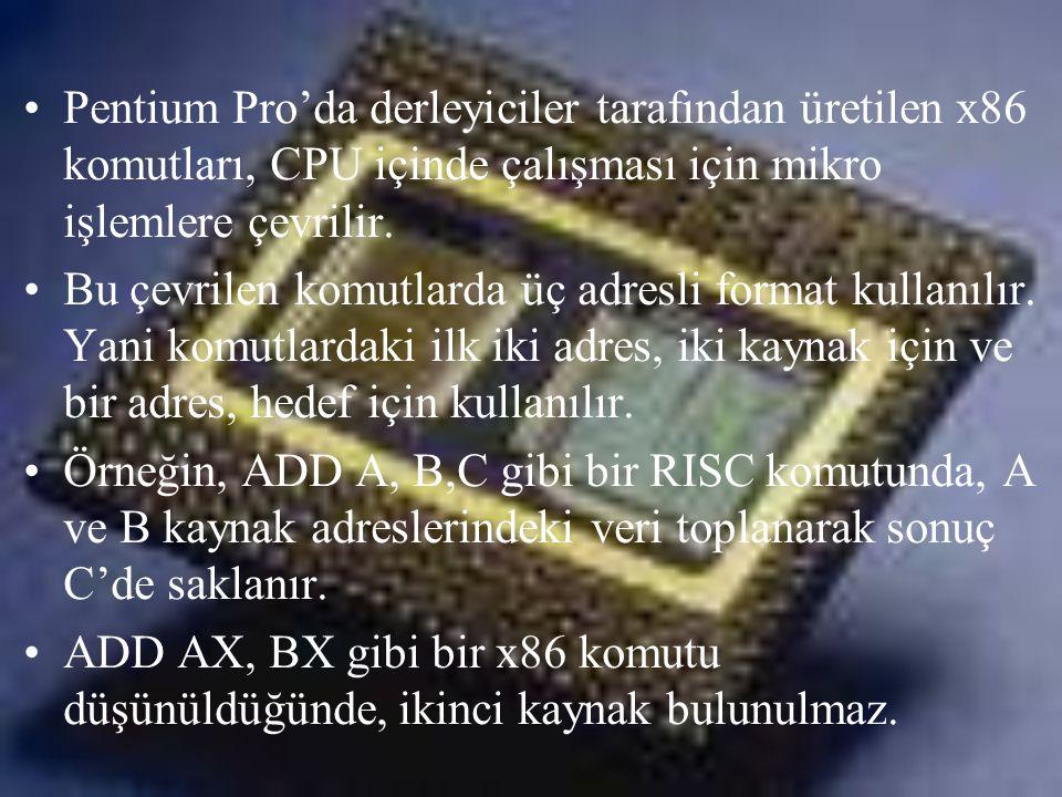 •Pentium Pro'da derleyiciler tarafından üretilen x86 komutları, CPU içinde çalışması için mikro işlemlere çevrilir. •Bu çevrilen komutlarda üç adresli