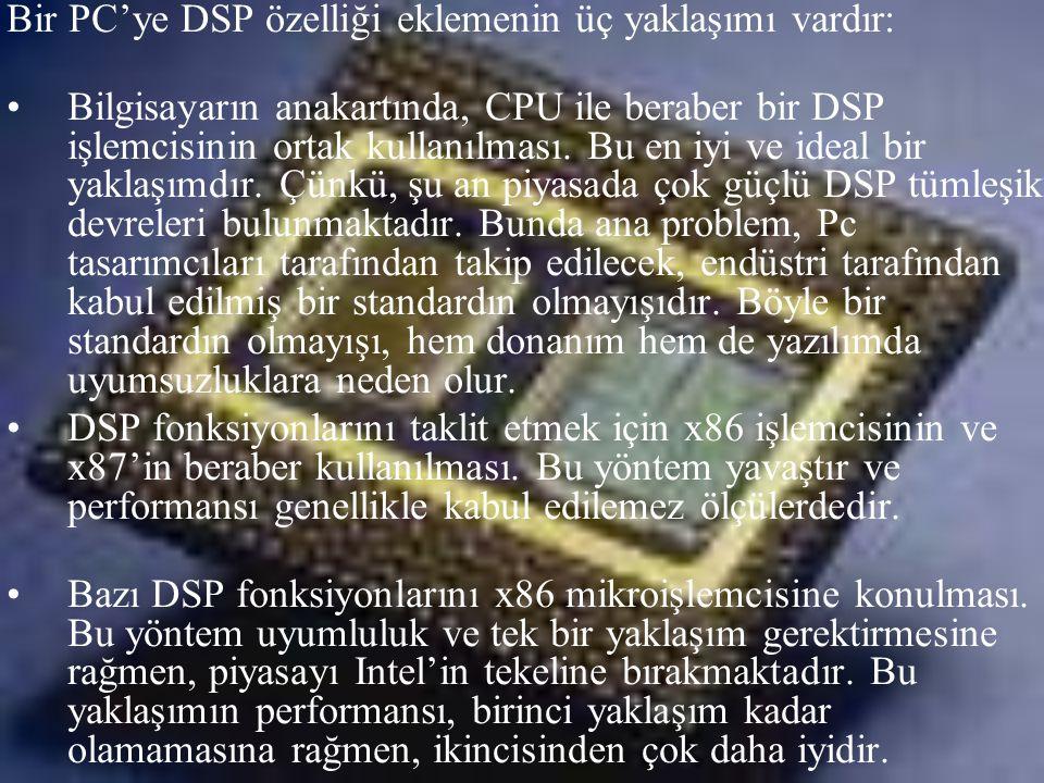 Bir PC'ye DSP özelliği eklemenin üç yaklaşımı vardır: •Bilgisayarın anakartında, CPU ile beraber bir DSP işlemcisinin ortak kullanılması. Bu en iyi ve