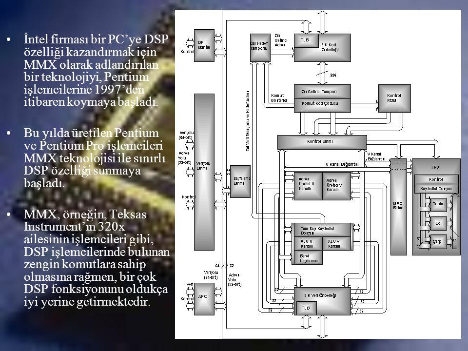 •İntel firması bir PC'ye DSP özelliği kazandırmak için MMX olarak adlandırılan bir teknolojiyi, Pentium işlemcilerine 1997'den itibaren koymaya başlad