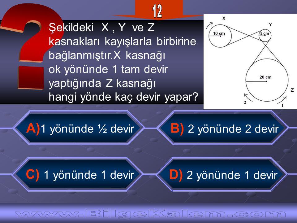Şekildeki X, Y ve Z kasnakları kayışlarla birbirine bağlanmıştır.X kasnağı ok yönünde 1 tam devir yaptığında Z kasnağı hangi yönde kaç devir yapar? B)