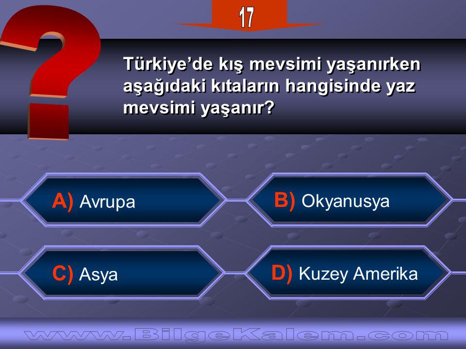 Türkiye'de kış mevsimi yaşanırken aşağıdaki kıtaların hangisinde yaz mevsimi yaşanır? Türkiye'de kış mevsimi yaşanırken aşağıdaki kıtaların hangisinde