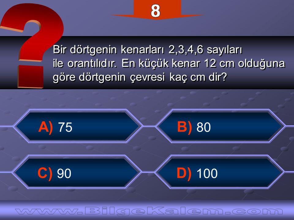 Bir dörtgenin kenarları 2,3,4,6 sayıları ile orantılıdır. En küçük kenar 12 cm olduğuna göre dörtgenin çevresi kaç cm dir? Bir dörtgenin kenarları 2,3