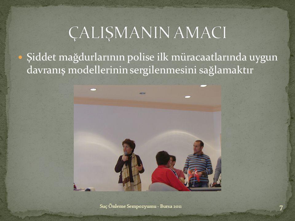  Şiddet mağdurlarının polise ilk müracaatlarında uygun davranış modellerinin sergilenmesini sağlamaktır 7 Suç Önleme Sempozyumu - Bursa 2011