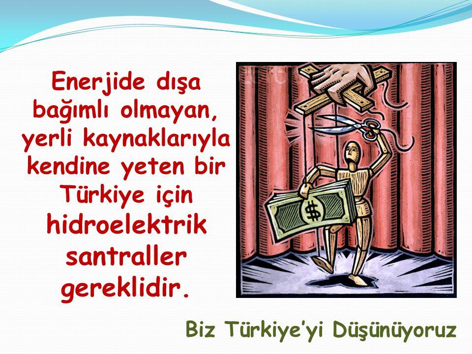 Enerjide dışa bağımlı olmayan, yerli kaynaklarıyla kendine yeten bir Türkiye için hidroelektrik santraller gereklidir.