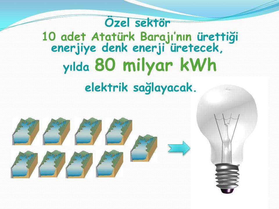 Özel sektör 10 adet Atatürk Barajı'nın ürettiği enerjiye denk enerji üretecek, yılda 80 milyar kWh elektrik sağlayacak.