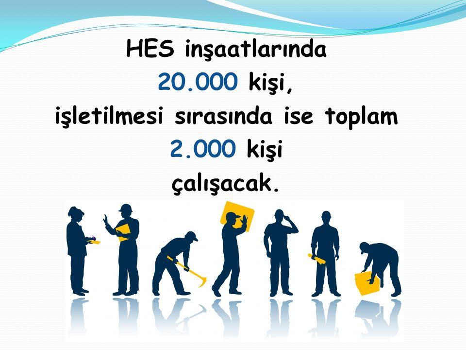 HES inşaatlarında 20.000 kişi, işletilmesi sırasında ise toplam 2.000 kişi çalışacak.