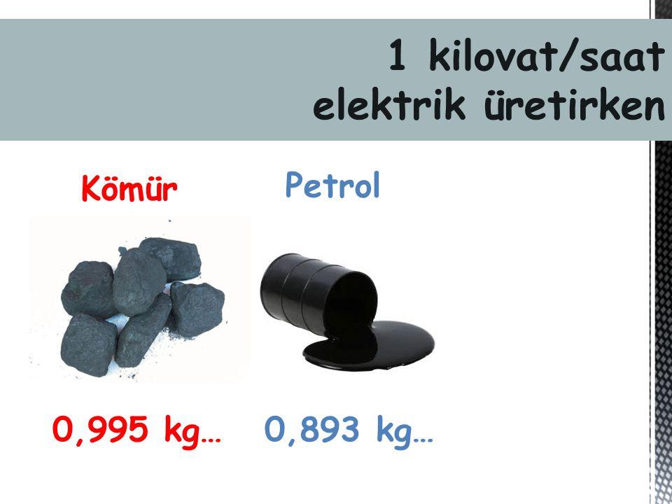 Kömür 0,995 kg… Petrol 0,893 kg… 1 kilovat/saat elektrik üretirken