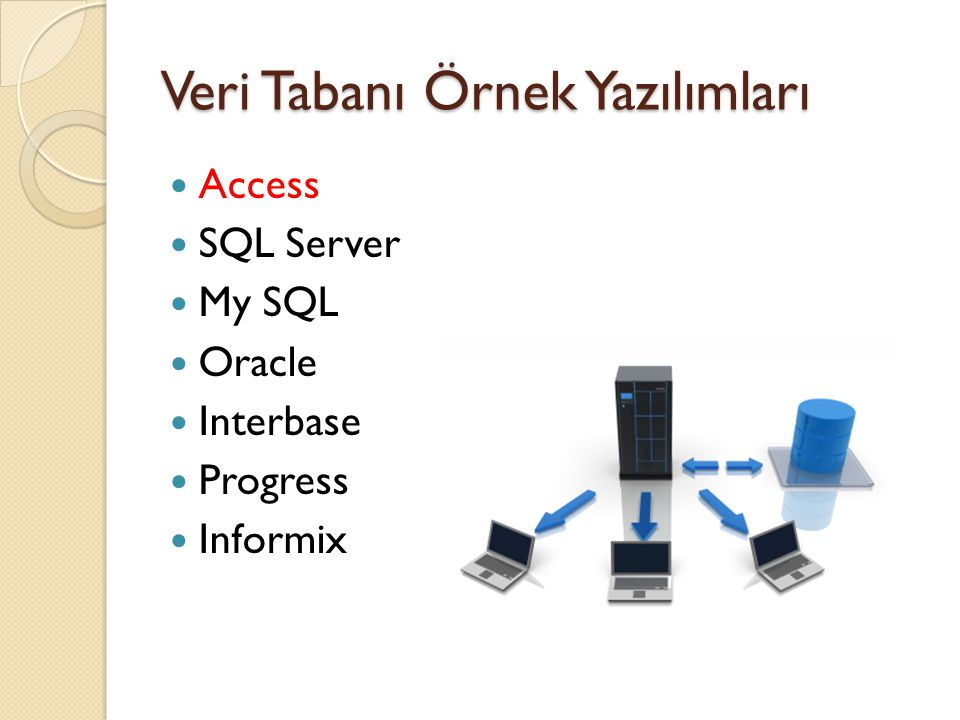 Veri Tabanı Örnek Yazılımları  Access  SQL Server  My SQL  Oracle  Interbase  Progress  Informix