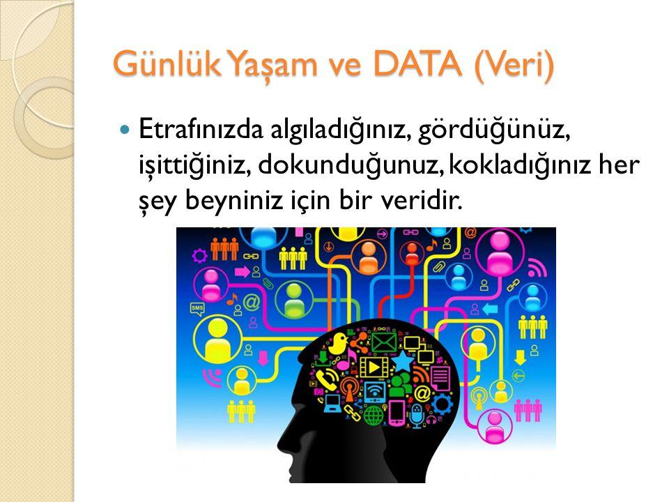 Günlük Yaşam ve DATA (Veri)  Etrafınızda algıladı ğ ınız, gördü ğ ünüz, işitti ğ iniz, dokundu ğ unuz, kokladı ğ ınız her şey beyniniz için bir verid