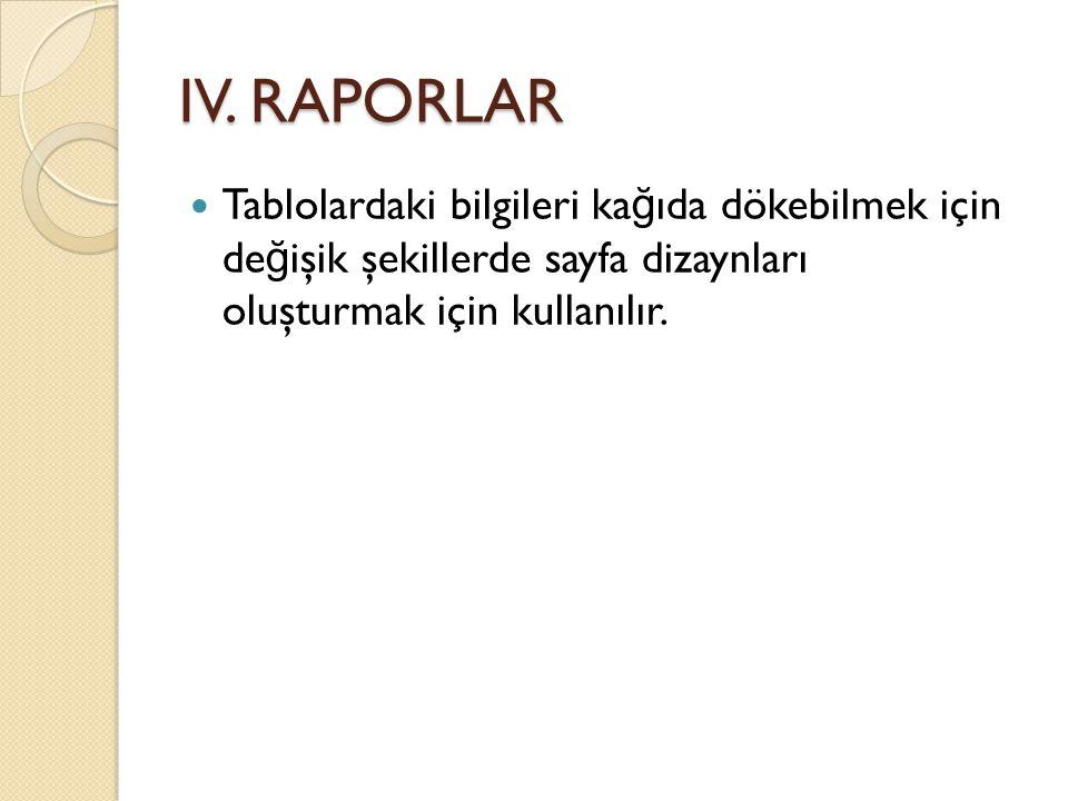 IV. RAPORLAR  Tablolardaki bilgileri ka ğ ıda dökebilmek için de ğ işik şekillerde sayfa dizaynları oluşturmak için kullanılır.