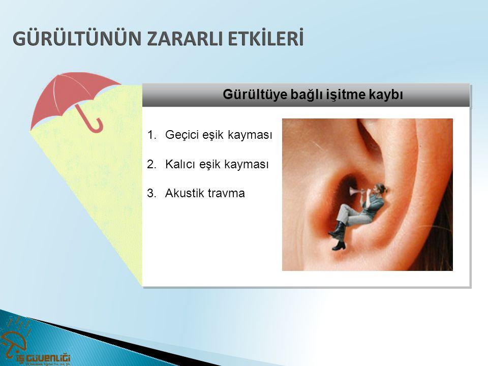 Gürültüye bağlı işitme kaybı 1.Geçici eşik kayması 2.Kalıcı eşik kayması 3.Akustik travma 1.Geçici eşik kayması 2.Kalıcı eşik kayması 3.Akustik travma