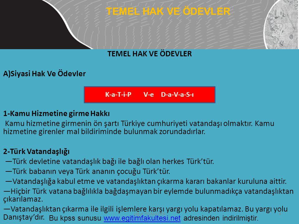 TEMEL HAK VE ÖDEVLER A)Siyasi Hak Ve Ödevler 1-Kamu Hizmetine girme Hakkı Kamu hizmetine girmenin ön şartı Türkiye cumhuriyeti vatandaşı olmaktır. Kam