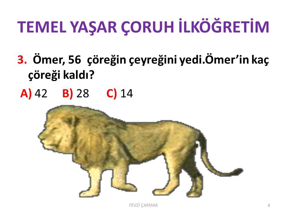 TEMEL YAŞAR ÇORUH İLKÖĞRETİM 2. Çeyreği 15 tane olan hindilerin 13 tanesi satıldı.Geriye kaç hindi kaldı? • A)47 B) 28 C) 2 FEVZİ ÇAKMAK3