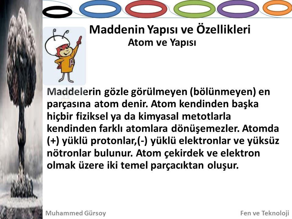 Maddenin Yapısı ve Özellikleri Atom ve Yapısı Muhammed GürsoyFen ve Teknoloji Maddelerin gözle görülmeyen (bölünmeyen) en parçasına atom denir. Atom k