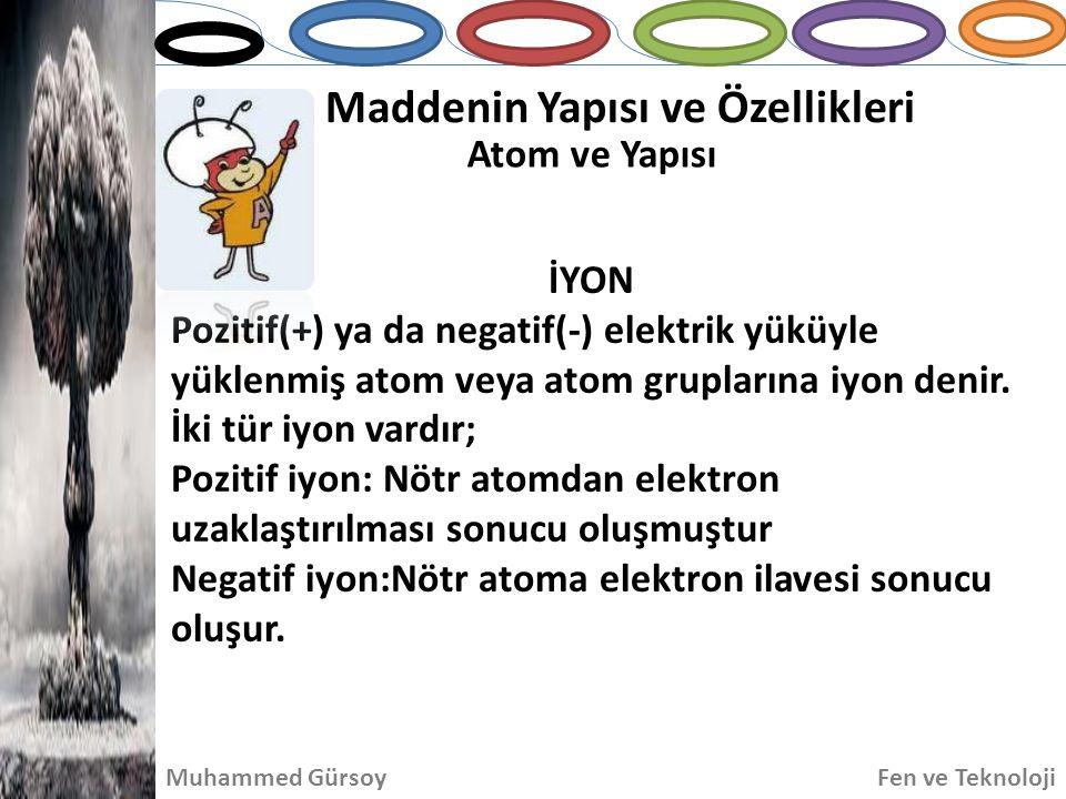 Maddenin Yapısı ve Özellikleri Atom ve Yapısı Muhammed GürsoyFen ve Teknoloji İYON Pozitif(+) ya da negatif(-) elektrik yüküyle yüklenmiş atom veya at