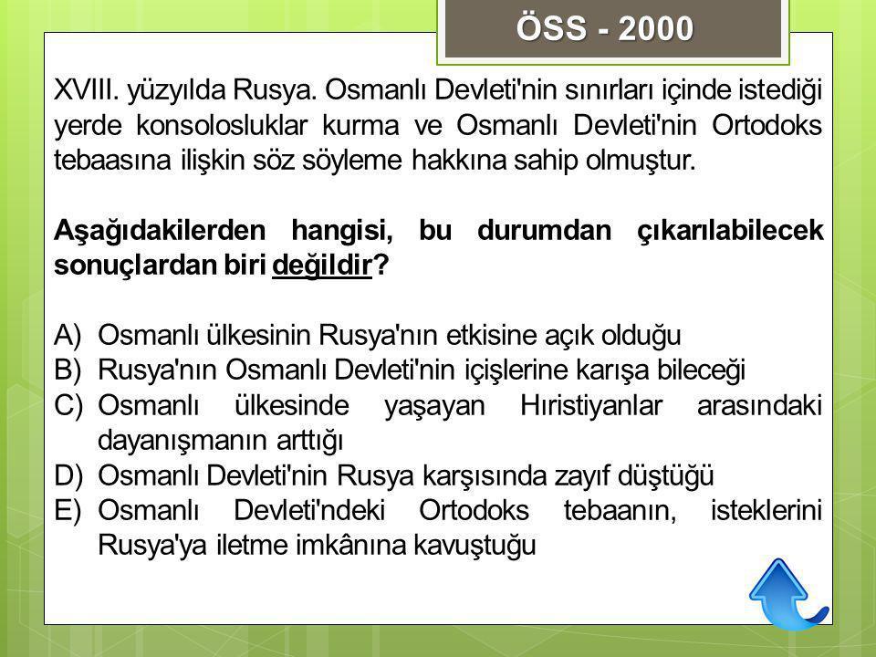 XVIII. yüzyılda Rusya. Osmanlı Devleti'nin sınırları içinde istediği yerde konsolosluklar kurma ve Osmanlı Devleti'nin Ortodoks tebaasına ilişkin söz