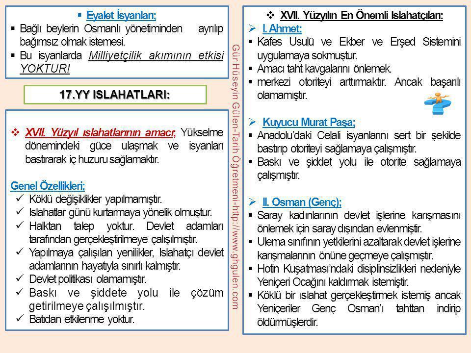  Eyalet İsyanları;  Bağlı beylerin Osmanlı yönetiminden ayrılıp bağımsız olmak istemesi.  Bu isyanlarda Milliyetçilik akımının etkisi YOKTUR!  XVI