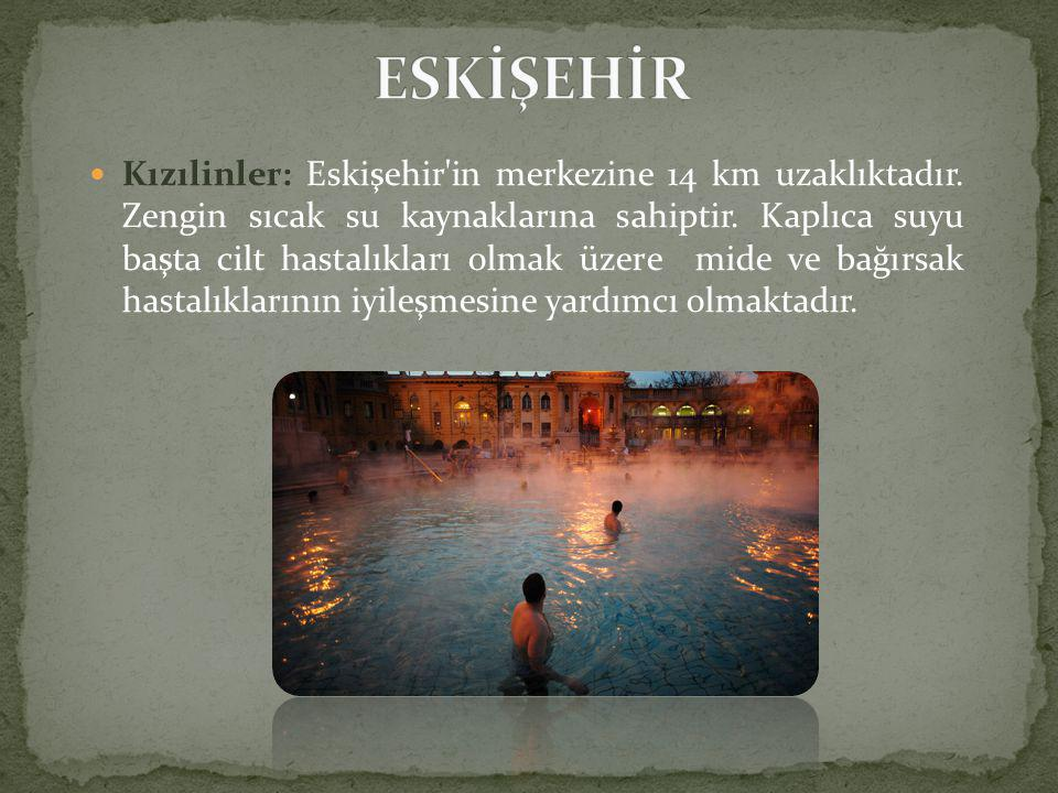  Kızılinler: Eskişehir in merkezine 14 km uzaklıktadır.