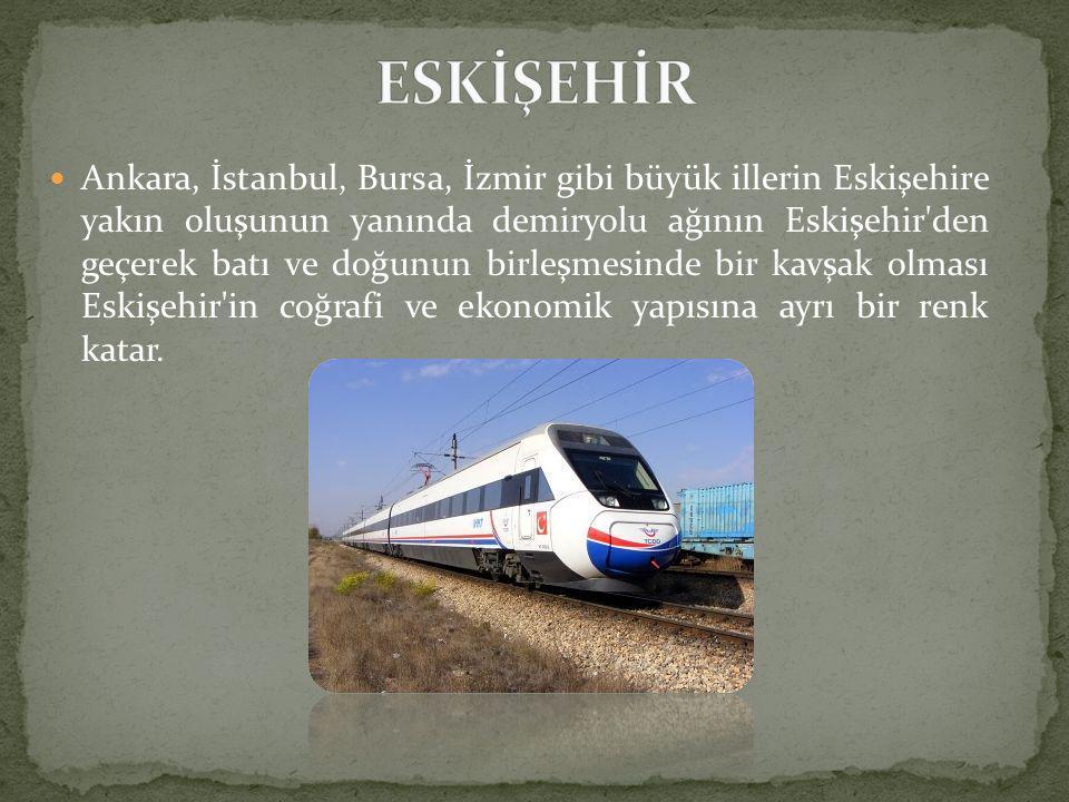  Ankara, İstanbul, Bursa, İzmir gibi büyük illerin Eskişehire yakın oluşunun yanında demiryolu ağının Eskişehir den geçerek batı ve doğunun birleşmesinde bir kavşak olması Eskişehir in coğrafi ve ekonomik yapısına ayrı bir renk katar.