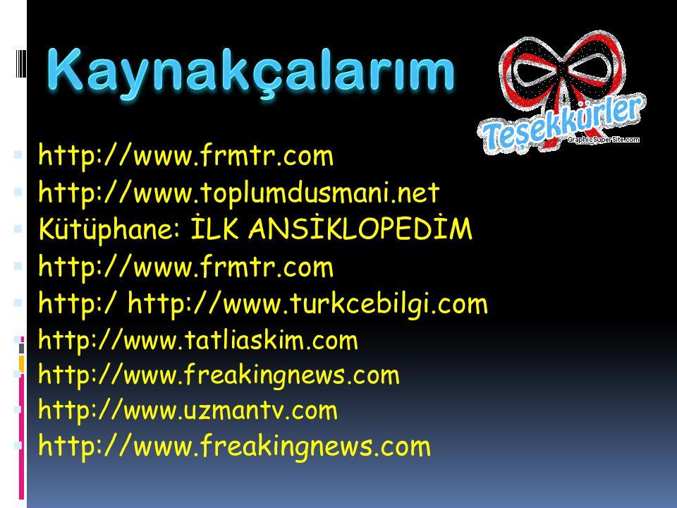  http://www.frmtr.com  http://www.toplumdusmani.net  Kütüphane: İLK ANSİKLOPEDİM  http://www.frmtr.com  http:/ http://www.turkcebilgi.com  http: