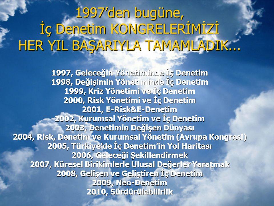 1997'den bugüne, İç Denetim KONGRELERİMİZİ HER YIL BAŞARIYLA TAMAMLADIK... 1997, Geleceğin Yönetiminde İç Denetim 1998, Değişimin Yönetiminde İç Denet