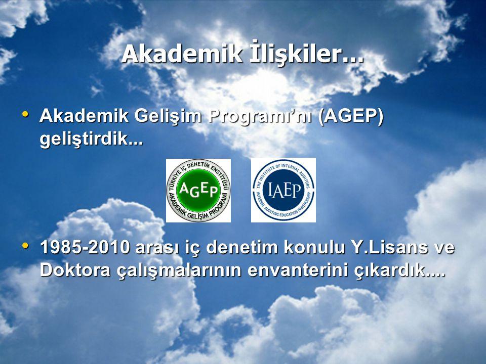 Akademik İlişkiler... • Akademik Gelişim Programı'nı (AGEP) geliştirdik... • 1985-2010 arası iç denetim konulu Y.Lisans ve Doktora çalışmalarının enva