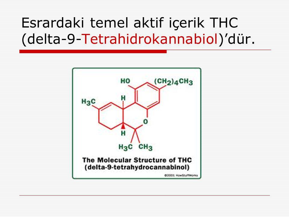 Esrardaki temel aktif içerik THC (delta-9-Tetrahidrokannabiol)'dür.