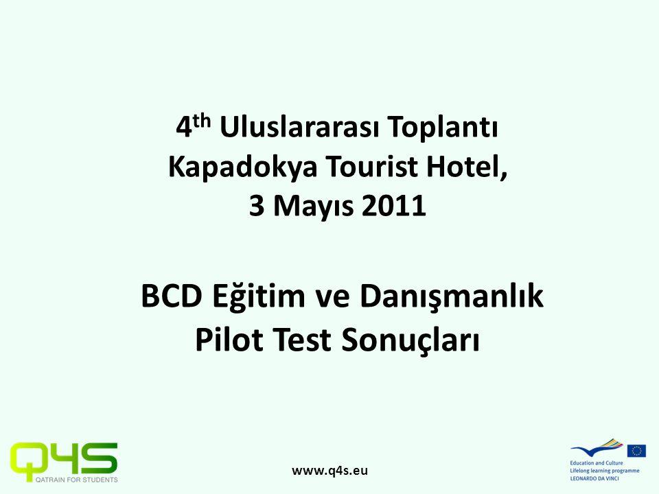 www.q4s.eu 4 th Uluslararası Toplantı Kapadokya Tourist Hotel, 3 Mayıs 2011 BCD Eğitim ve Danışmanlık Pilot Test Sonuçları