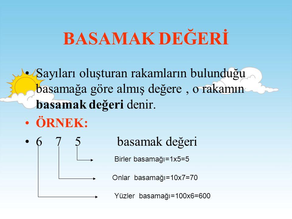 BASAMAK DEĞERİ •S•Sayıları oluşturan rakamların bulunduğu basamağa göre almış değere, o rakamın basamak değeri denir.