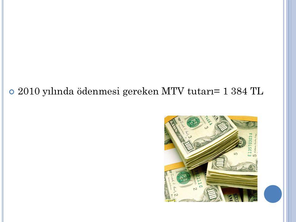 2010 yılında ödenmesi gereken MTV tutarı= 1 384 TL