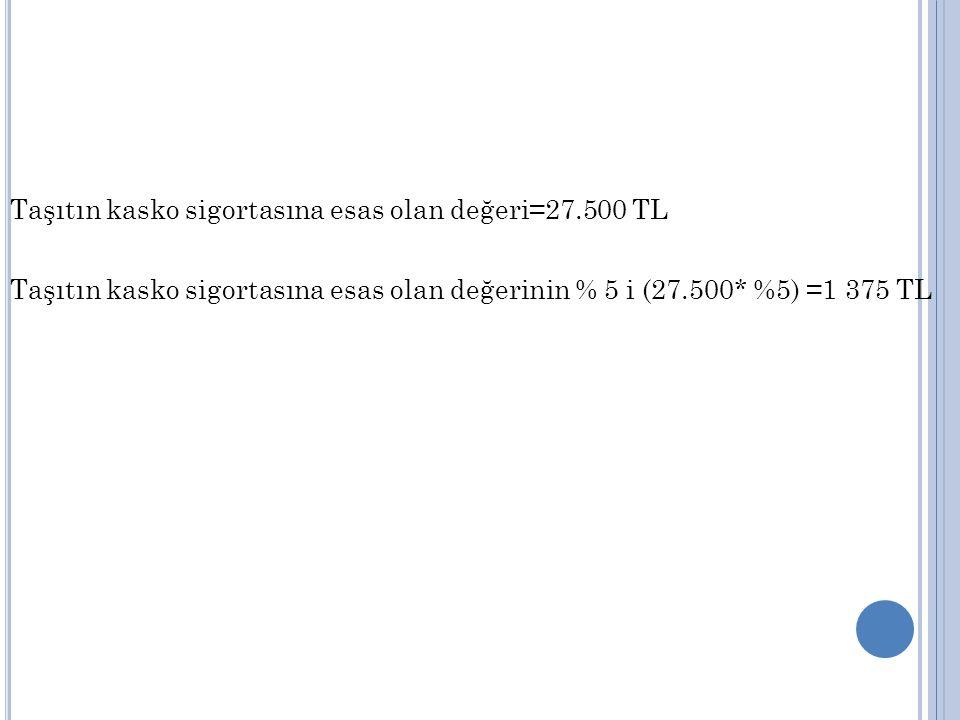Taşıtın kasko sigortasına esas olan değeri=27.500 TL Taşıtın kasko sigortasına esas olan değerinin % 5 i (27.500* %5) =1 375 TL