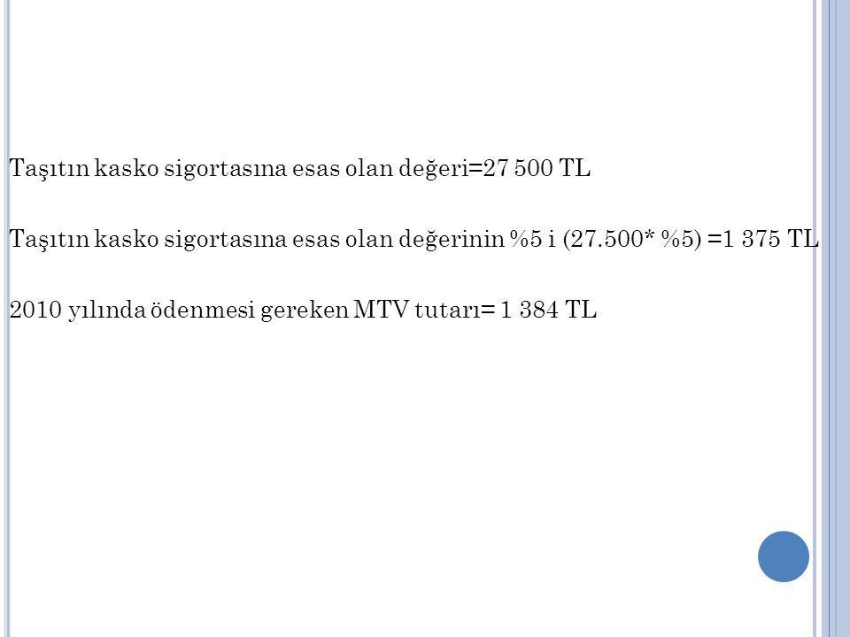 Taşıtın kasko sigortasına esas olan değeri=27 500 TL Taşıtın kasko sigortasına esas olan değerinin %5 i (27.500* %5) =1 375 TL 2010 yılında ödenmesi gereken MTV tutarı= 1 384 TL