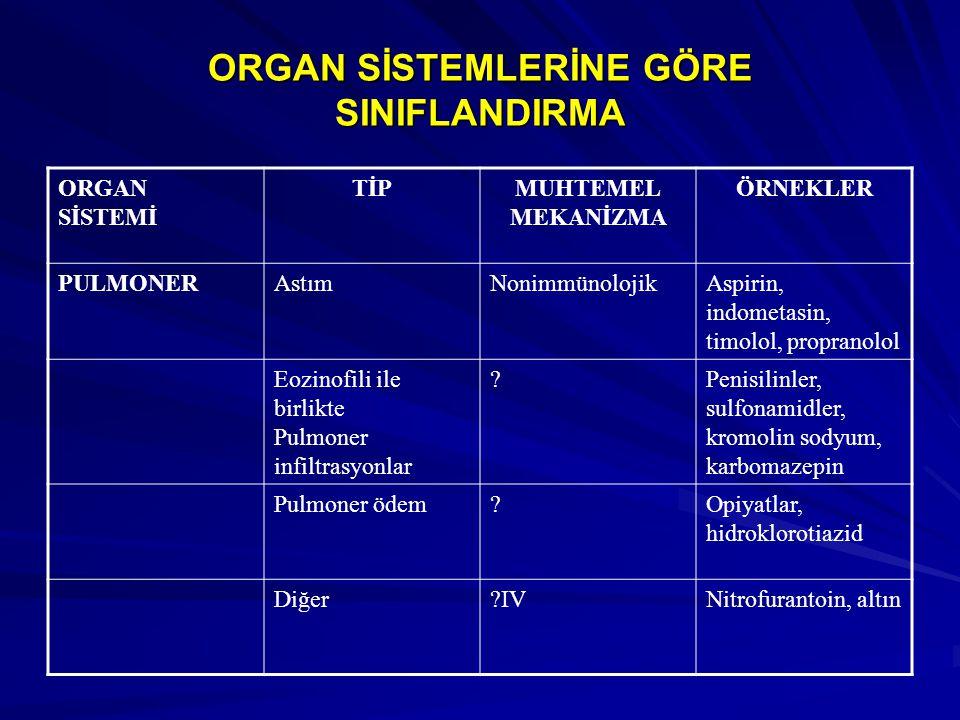ORGAN SİSTEMLERİNE GÖRE SINIFLANDIRMA ORGAN SİSTEMİ TİPMUHTEMEL MEKANİZMA ÖRNEKLER PULMONERAstımNonimmünolojikAspirin, indometasin, timolol, propranol
