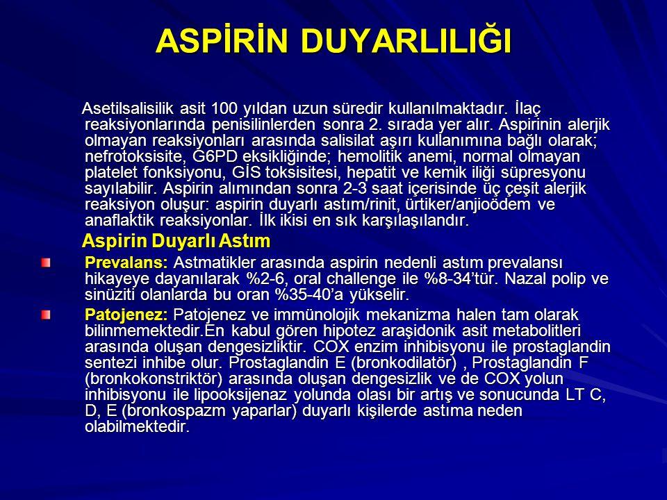 ASPİRİN DUYARLILIĞI Asetilsalisilik asit 100 yıldan uzun süredir kullanılmaktadır. İlaç reaksiyonlarında penisilinlerden sonra 2. sırada yer alır. Asp