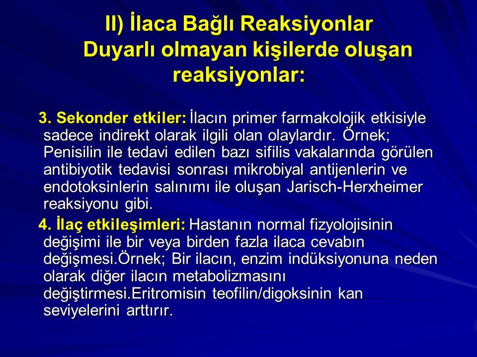 II) İlaca Bağlı Reaksiyonlar Duyarlı olmayan kişilerde oluşan reaksiyonlar: 3. Sekonder etkiler: İlacın primer farmakolojik etkisiyle sadece indirekt