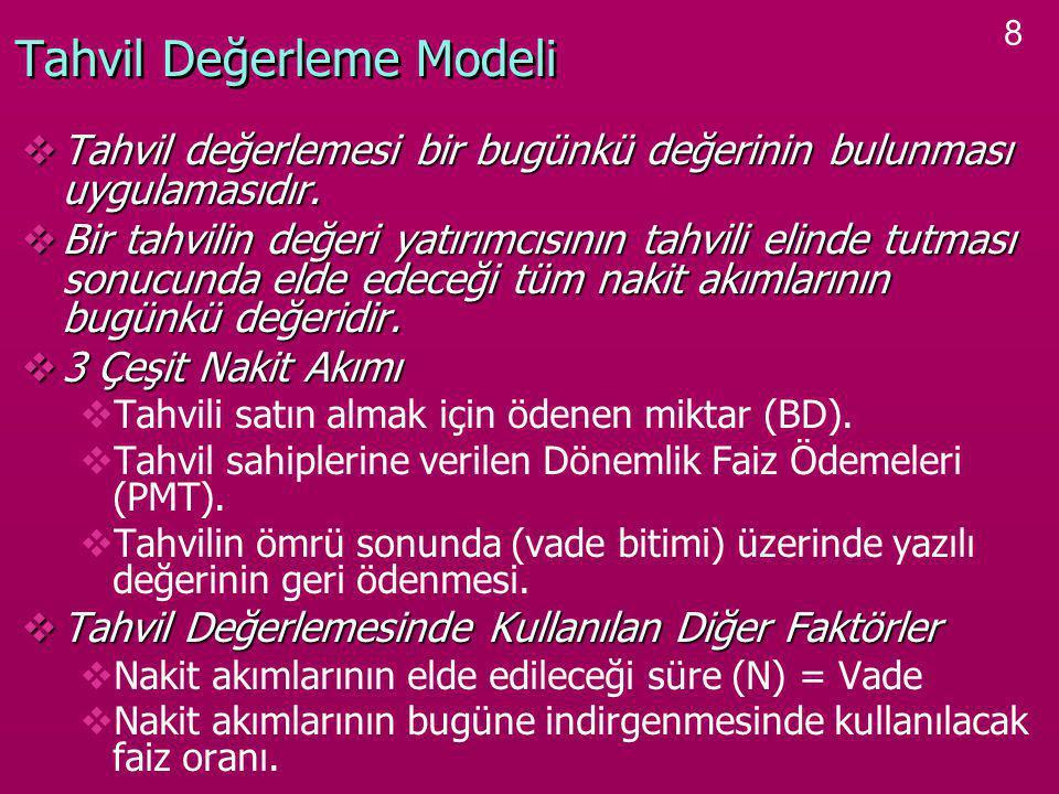 8 Tahvil Değerleme Modeli  Tahvil değerlemesi bir bugünkü değerinin bulunması uygulamasıdır.